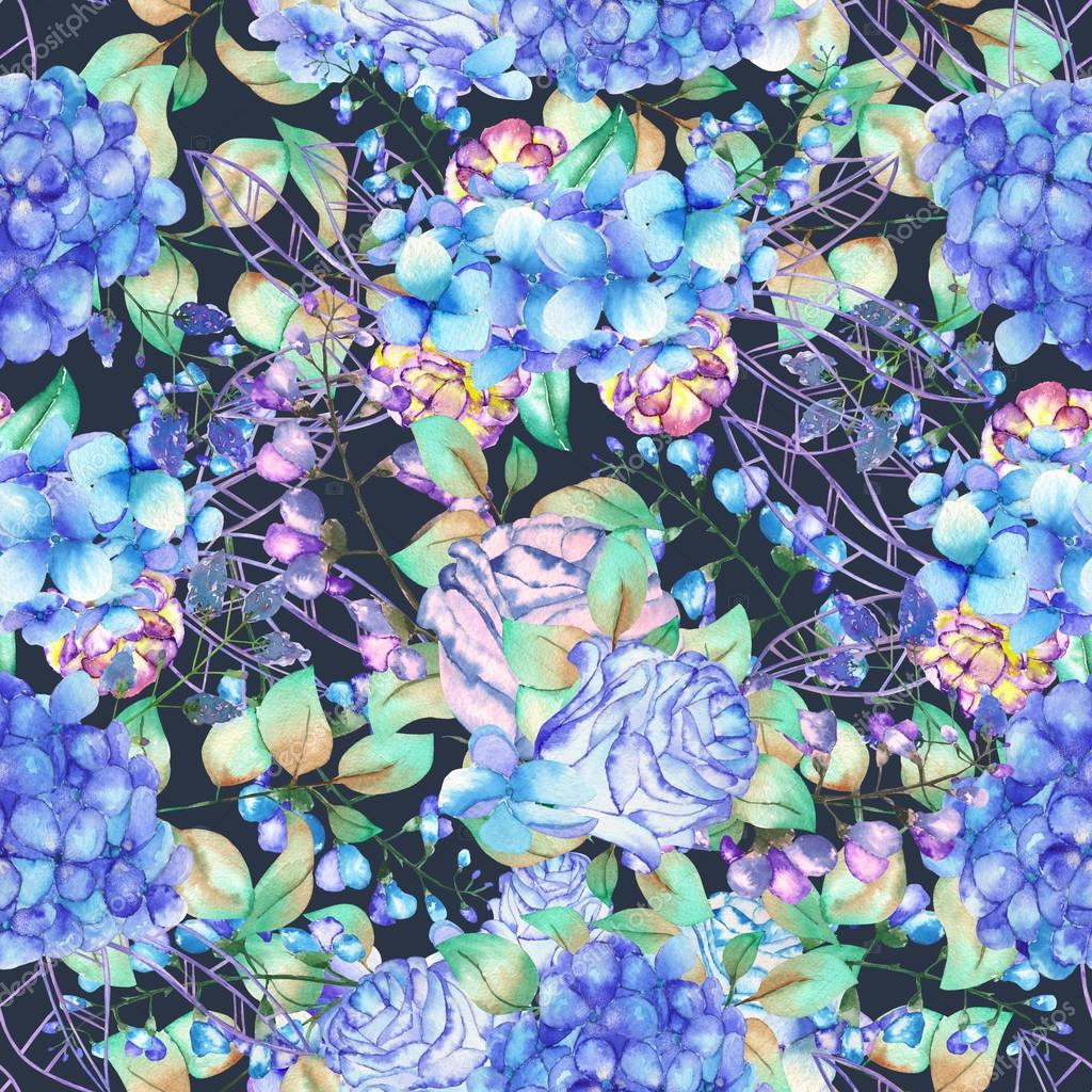 A seamless floral pattern with the bouquets of Hydrangea flowers, blue roses and leaves, painted in a watercolor on a dark background