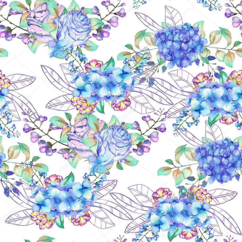 A seamless floral pattern with the bouquets of Hydrangea flowers, blue roses and leaves, painted in a watercolor on a white background