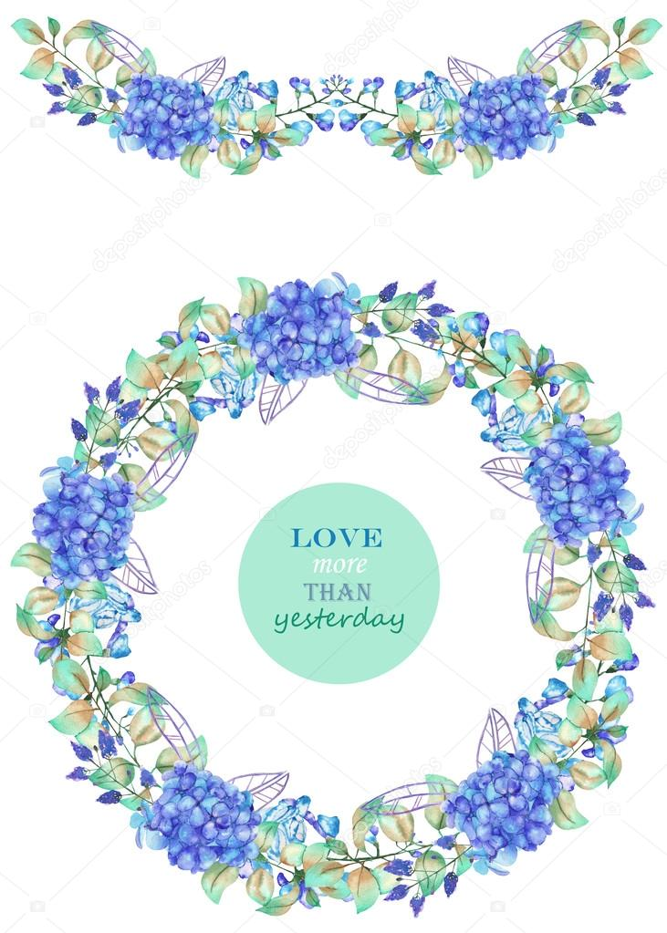 Frame border, garland and wreath of the blue Hydrangea flowers and green leaves, painted in a watercolor, a greeting card, decoration postcard or invitation