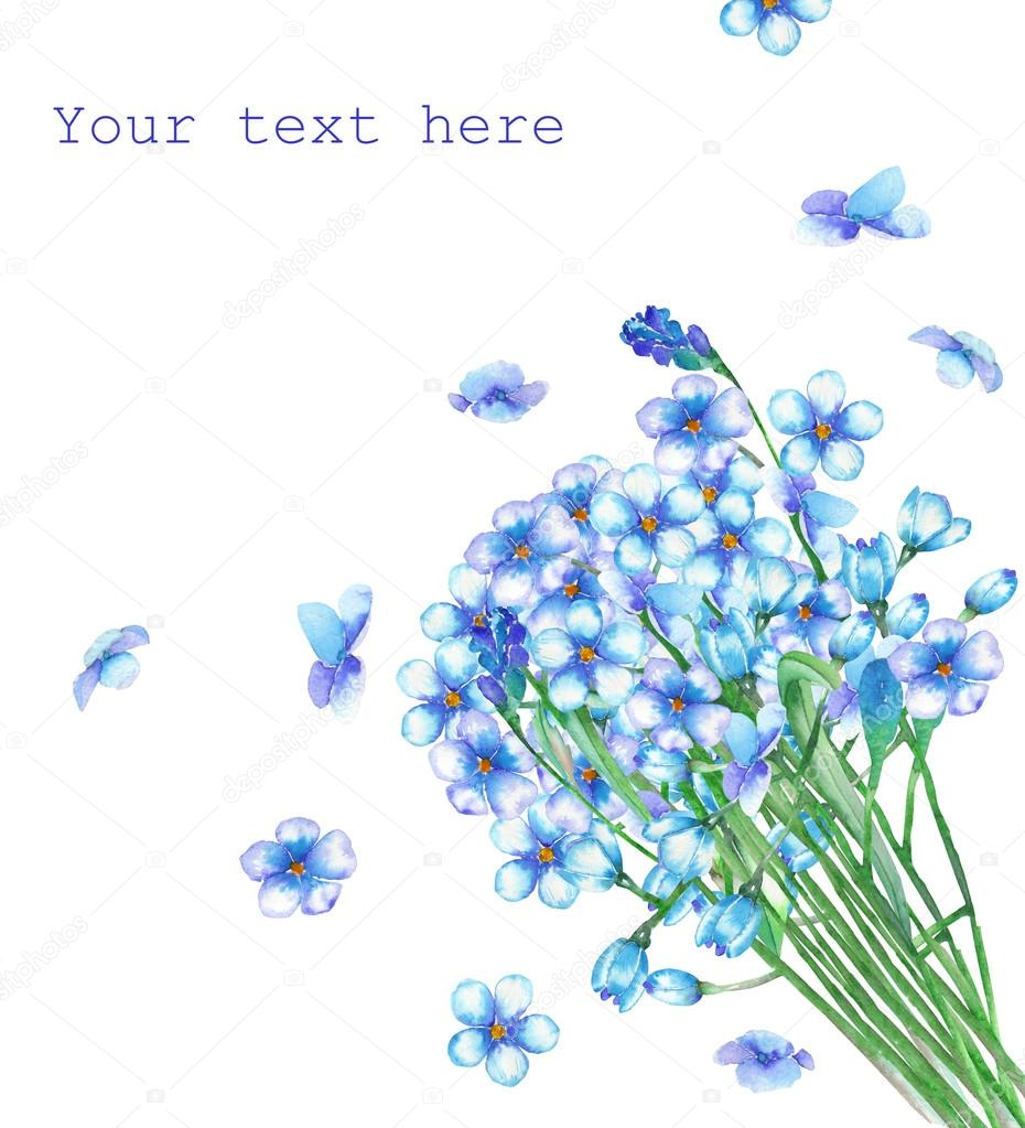 A template of postcard with a bouquet of the watercolor blue forget-me-not flowers (Myosotis) for a greeting card, decoration postcard or invitation