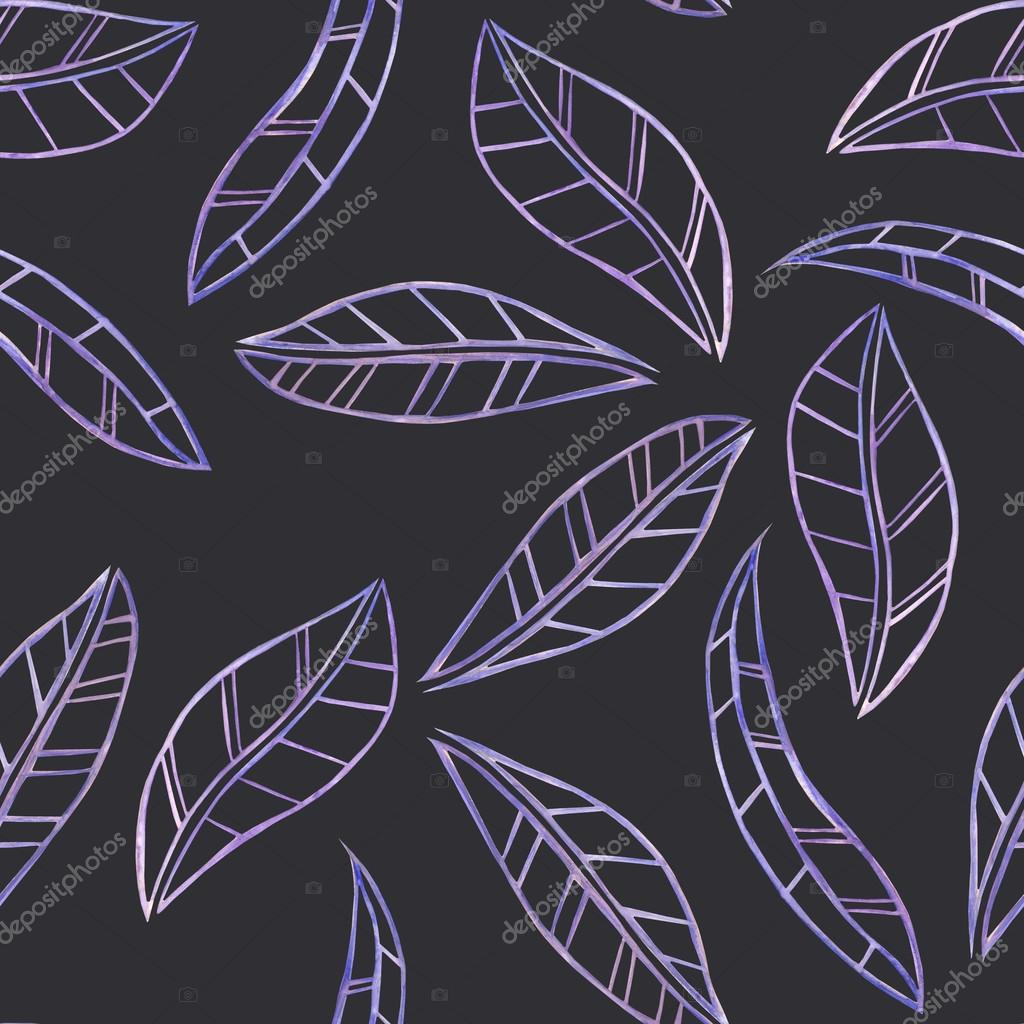 A seamless floral pattern with the watercolor violet leaves on a dark background
