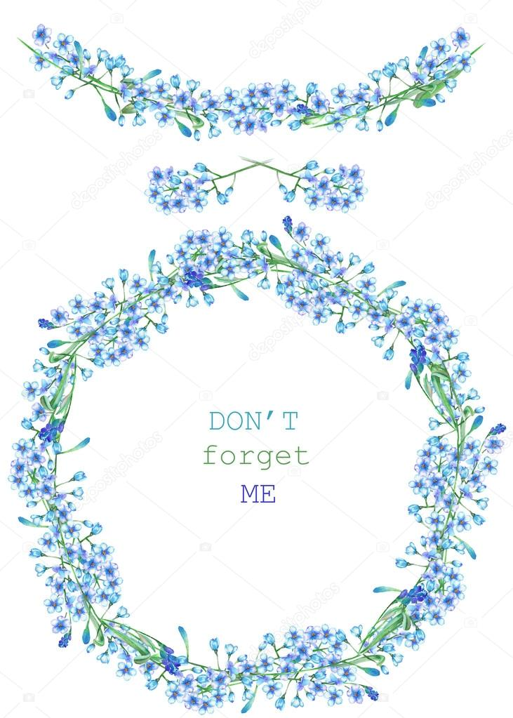 Frame border, garland and wreath of the blue flowers of forget-me-not (Myosotis), painted in a watercolor on a white background, greeting card, decoration postcard or invitation