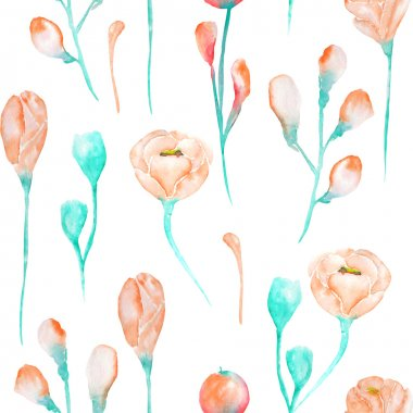 A seamless pattern with the watercolor beautiful  tender pink and turquoise spring wildflowers on a white background
