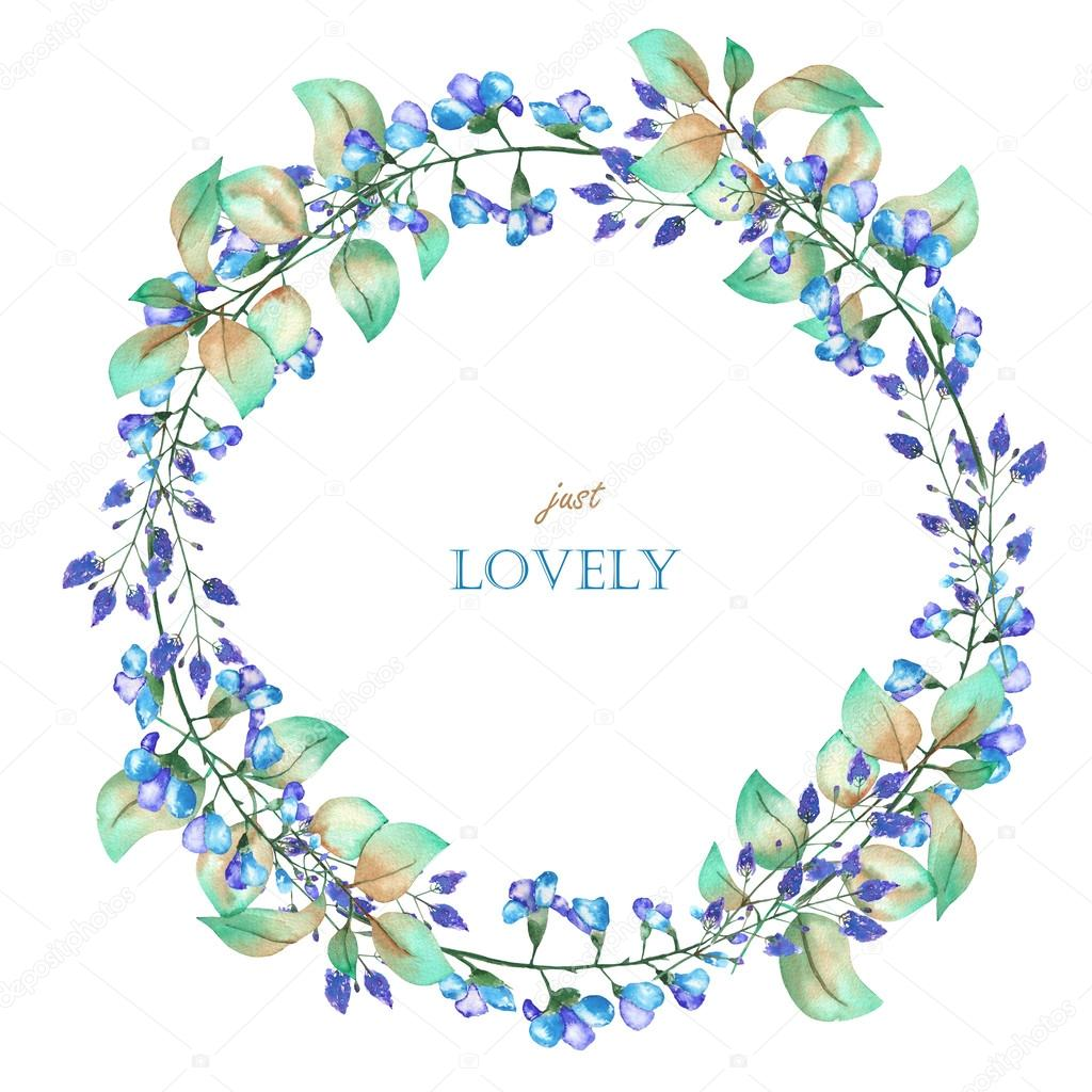 A floral circle frame wreath of the watercolor blue flowers and a floral circle frame wreath of the watercolor blue flowers and green leaves izmirmasajfo Gallery