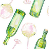 A seamless pattern with the watercolor glasses of white wine and wine bottles. Painted hand-drawn in a watercolor on a white background.
