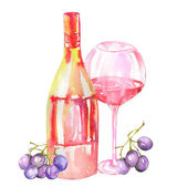 Image of the watercolor red wine (champagne) bottle, blue grapes and glass of the red wine. Painted hand-drawn in a watercolor on a white background.