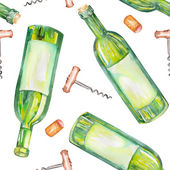 A seamless watercolor pattern with the wine elements: wine bottles, wine corks and a corkscrew.