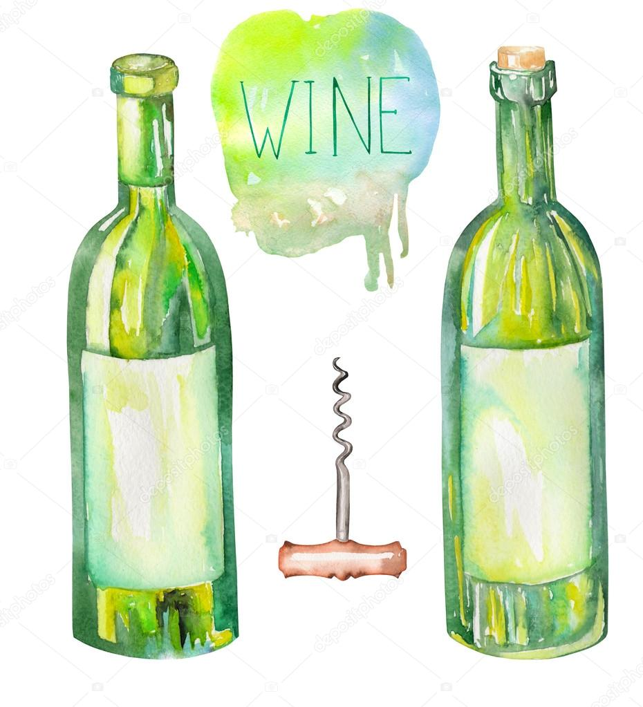 An Illustration Of The Watercolor Wine Bottles And A Corkscrew Painted Hand Drawn In On White Background Stock Photo Image By C Nastyasklyarova 96076826