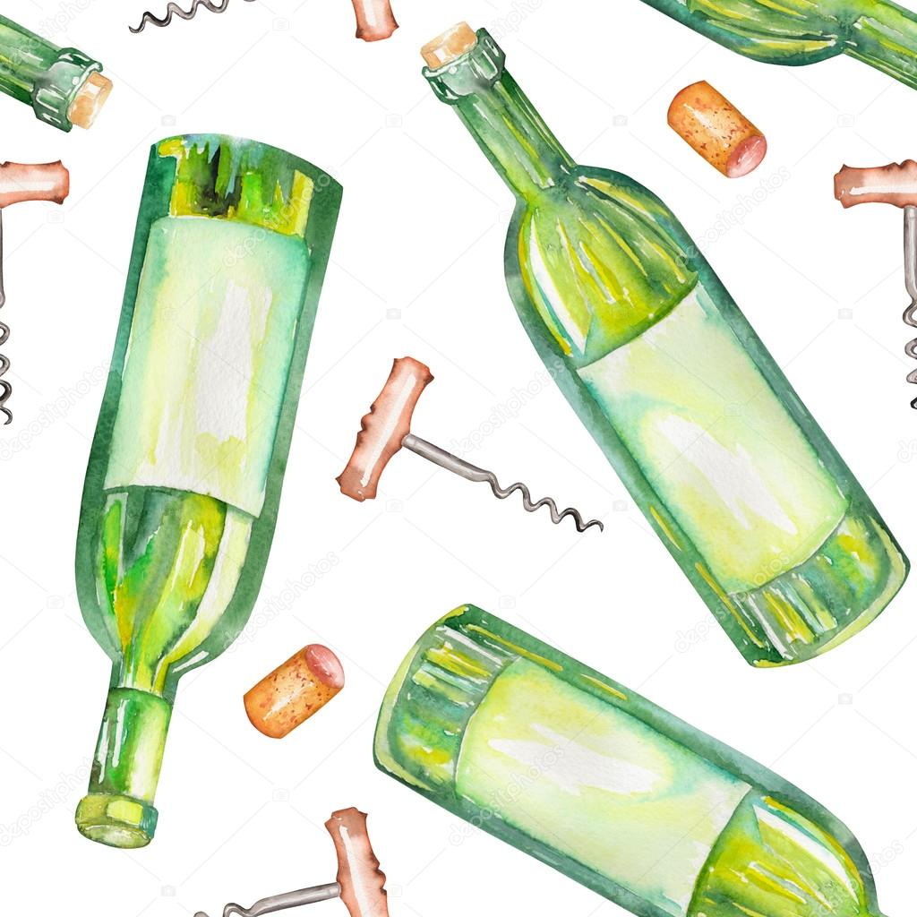 A Seamless Watercolor Pattern With The Wine Elements Bottles Corks And Corkscrew Stock Photo Image By C Nastyasklyarova 96076842