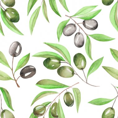 A seamless pattern with the watercolor branches of green and black olives on a white background