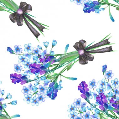 A seamless pattern with the bouquets of blue forget-me-not flowers (Myosotis) and lavender, decorated by bow, painted in a watercolor on a white background