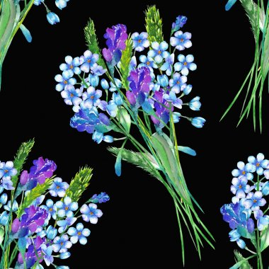 Seamless pattern with the bouquets of blue forget-me-not flowers (Myosotis) and lavender flowers, painted in a watercolor on a dark background