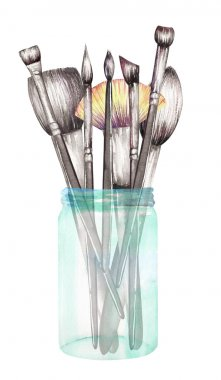 An image (illustration) with the makeup brushes in a glass jar. All elements were hand-drawn in a watercolor on a white background. stock vector