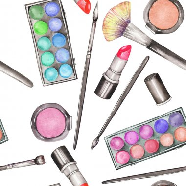 A seamless pattern with the watercolor makeup tools:  blusher, eyeshadow, lipstick and makeup brushes.
