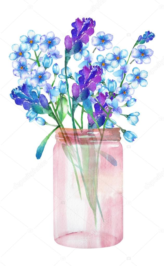 An image, illustration of a bouquet of the wildflowers (forget-me-not (Myosotis) and lavender flowers) in a glass jar