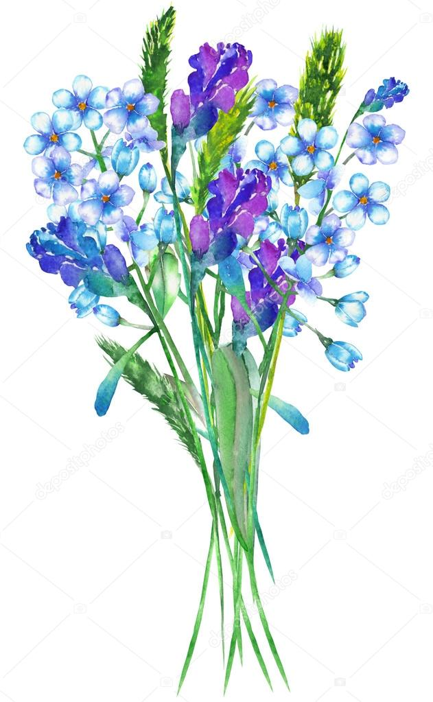An illustration with a bouquet of the beautiful watercolor blue forget-me-not flowers (Myosotis), lavender flowers and spikelets