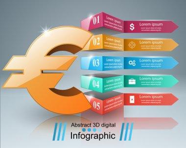 3D infographic.Euro, Money icon.