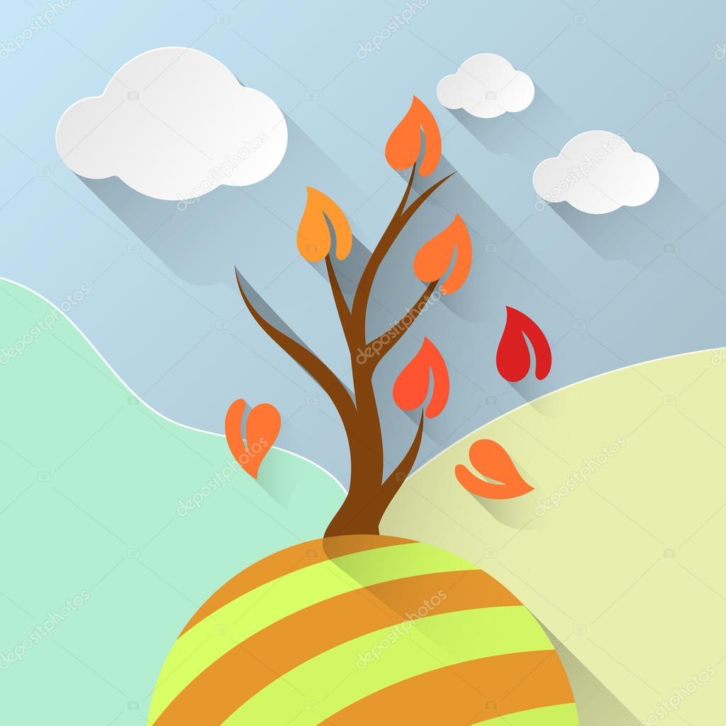 Vector illustration of orange landscape. Clouds illustration.