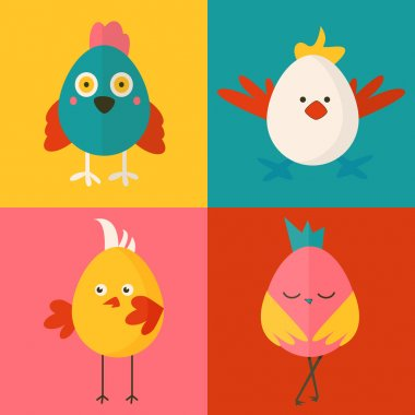 Set of four chicken characters