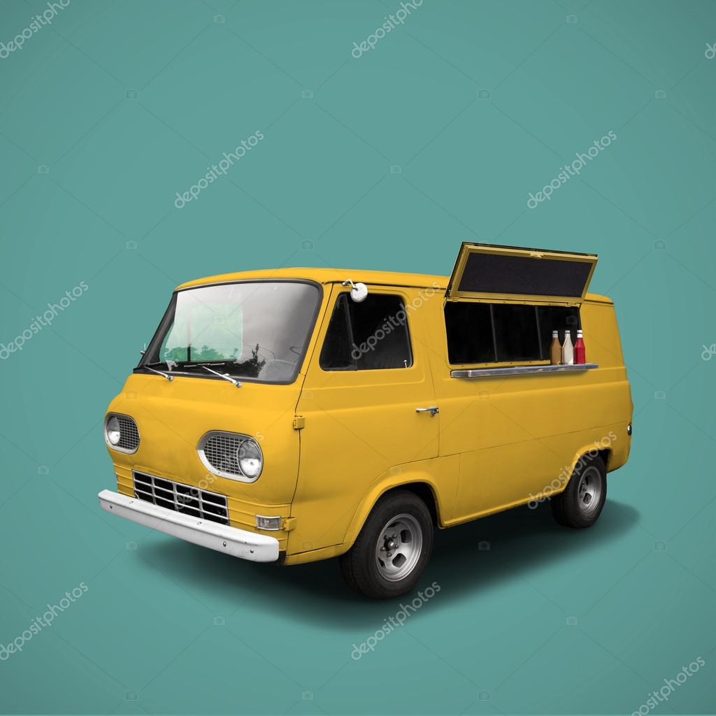 yellow fast food truck on blue background template stock photo