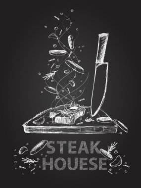 Steak house quotes illustration on chalkboard