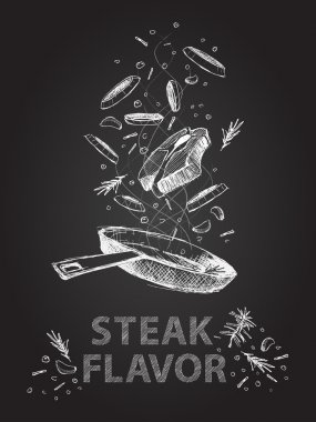 Steak flavor quotes illustration on chalkboard