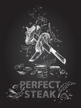 Perfect steak quotes illustration on chalkboard