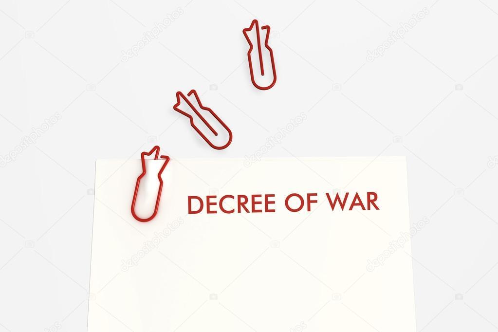Plantilla de guerra Decreto sobre fondo blanco — Fotos de Stock ...