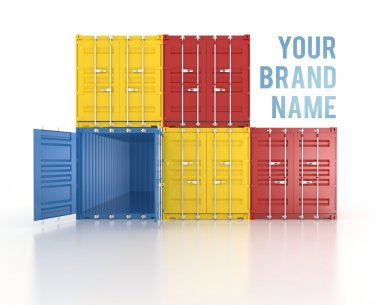 Your name colour stacked shipping containers