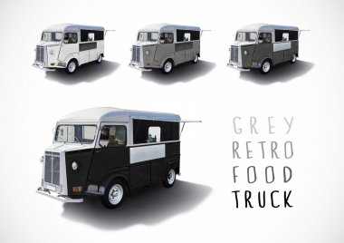 Set of gray scale food trucks, isolated
