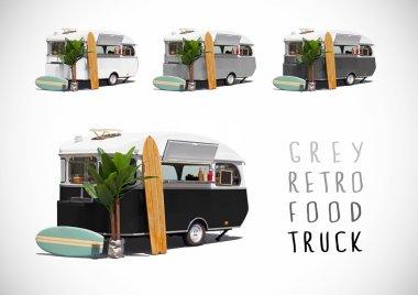 Set of grey food caravans, isolated