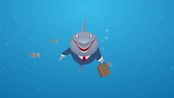 Business shark in sea