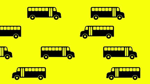 Mozgó iskolabusz háttér. Vissza a suliba. 4K.