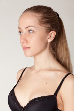 Portrait of a young attractive girl without makeup.