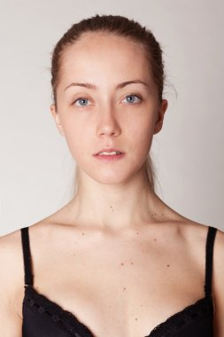portrait of young woman  without make-up