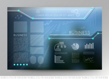 Business template page with blue abstract vector backgrounds