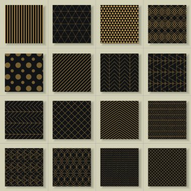 Set of 16 abstract gold geometric patterns