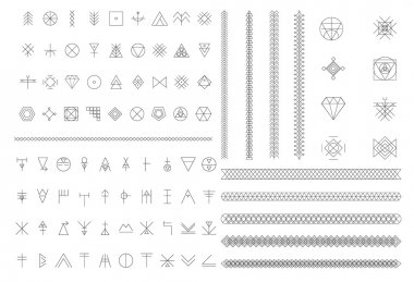 Big Set of geometric hipster shapes, linear icon