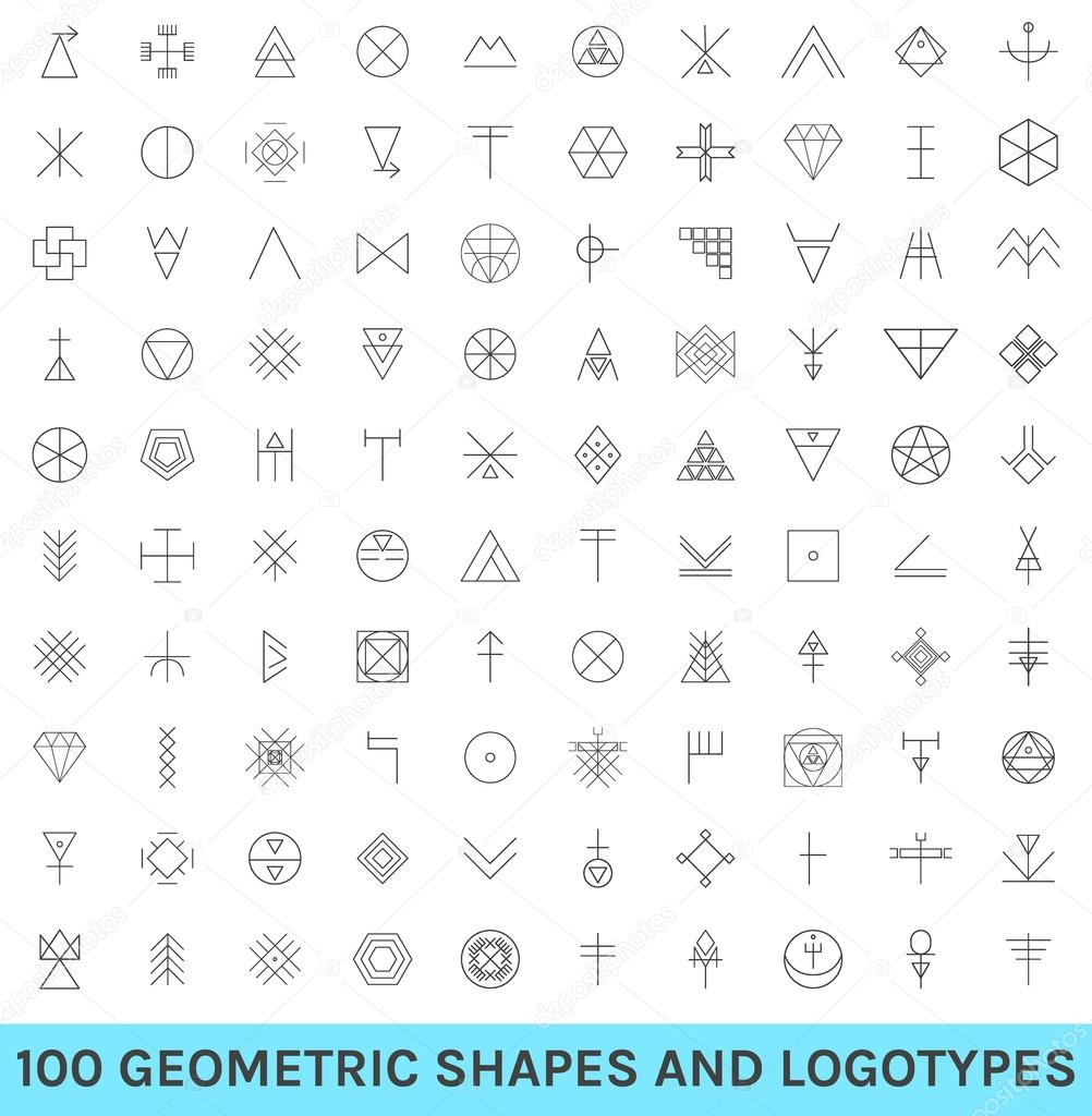Set Of 100 Geometric Hipster Shapes12 Archivo Imágenes Vectoriales