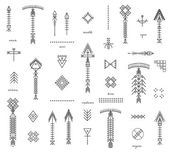 Fotografie Set of geometric hipster shapes and arrows