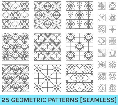 Set of 25 abstract geometric patterns zz background