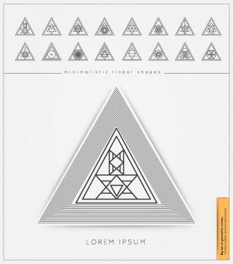 Set of minimal geometric monochrome shapes