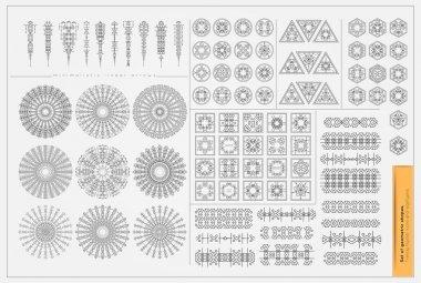 Set of minimal geometric monochrome shapes.