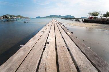 wooden bridge on sunny day in Thailnd