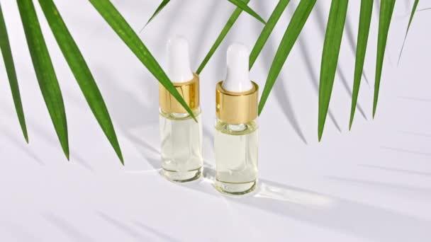 Kapátko skleněná láhev s přírodním kosmetickým, esenciálním olejem. Pohyb tropických palmových listů se stíny na bílém pozadí.
