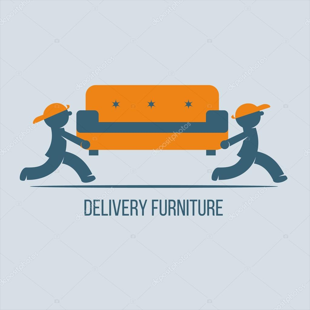 Shipping Furniture. Vector Logo, Sign. Movers Carry A