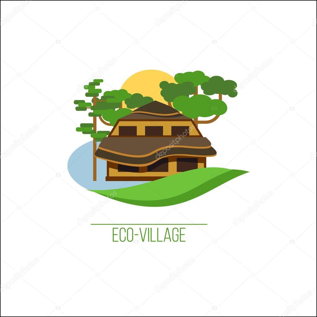 eco house logo eco village suburban real estate brand style
