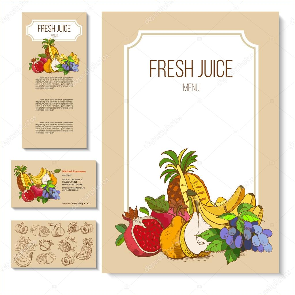 Fruits hand drawn a set of templates from craft paper menus a set of templates from craft paper menus business cards promotional flyers vector illustration vetor de katedemianov reheart Images