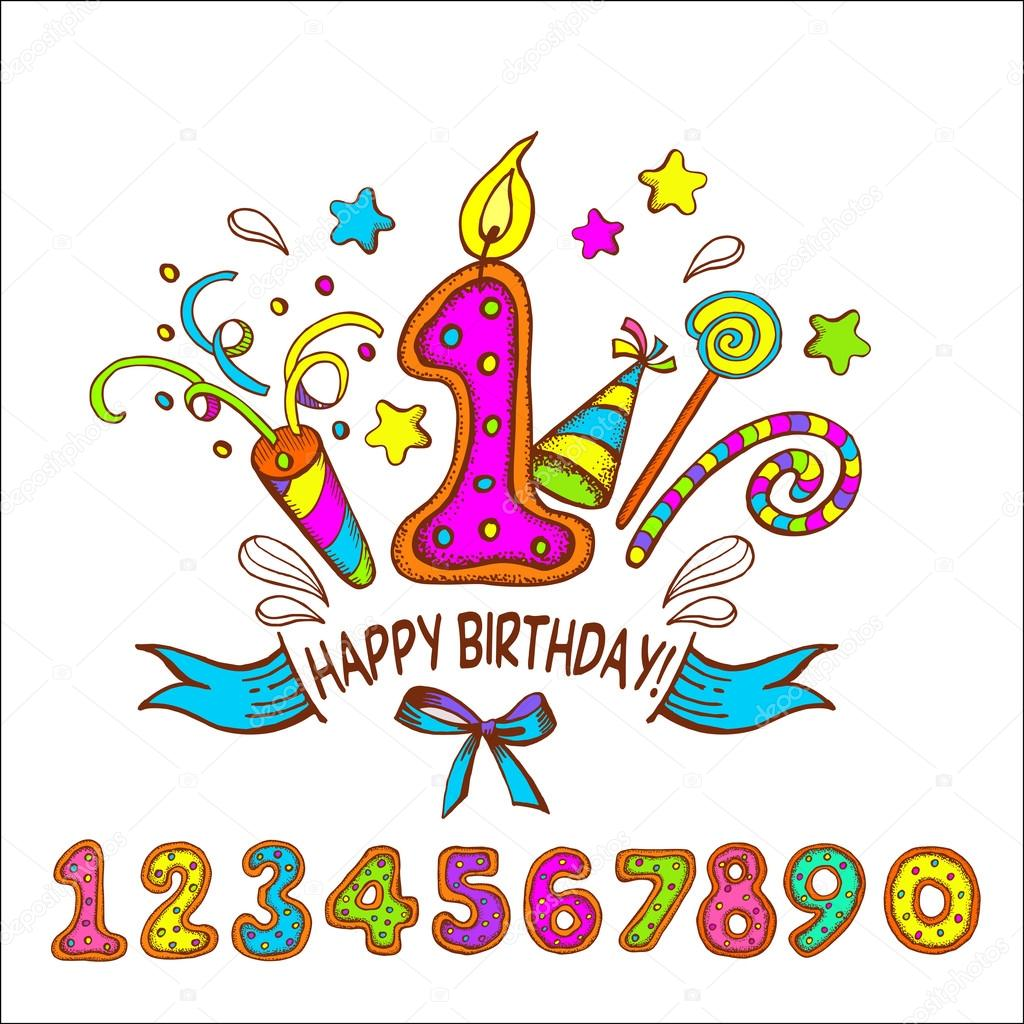 One Year Old Birthday Quotes: Happy Birthday. One Year. Set Of Colored Numbers
