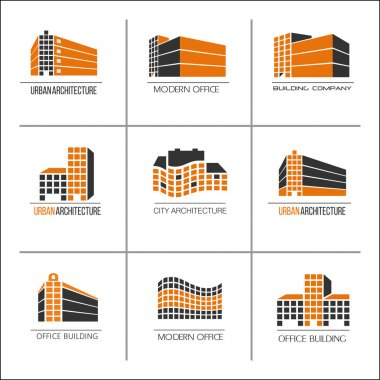 Set of 9 vector logos, urban architecture,icons for a construction company. The construction of buildings, offices, hotels